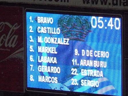El marcador en el minuto 5. Iñigo Diaz de Cerio aparece entre los titulares. Ahora deberá esperar bastantes meses para su recuperación.