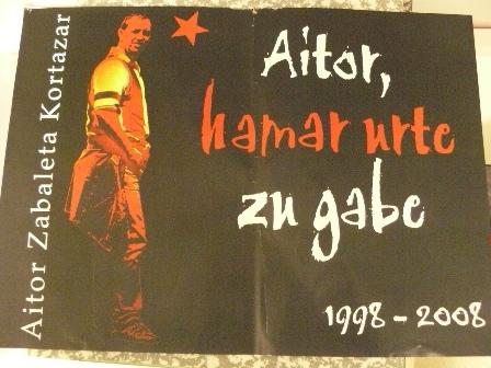 Cartel que se ha sacado para el homenaje a Aitor Zabaleta.